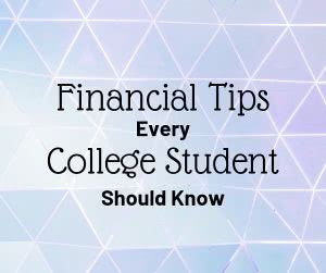 Triangular pattern with text: Financial tips every college student should know