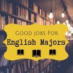 Bookshelf with text: good jobs for English majors