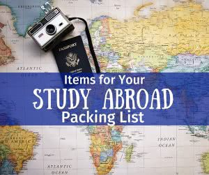 World map with text: study abroad packing list