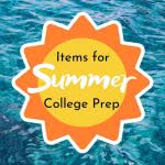 Sun icon over pool water with text: items for summer college prep