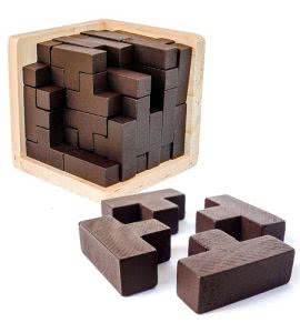 3D wooden puzzle cube and pieces by Sharp Brain Zone. Click to visit its Amazon page.
