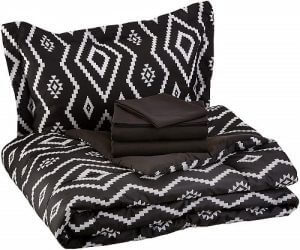 5 piece black and white patterned bed sheets by AmazonBasics. Linked to its Amazon page.