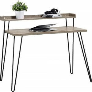 Two tier riser desk by Ameriwood. Click to visit its Amazon page.