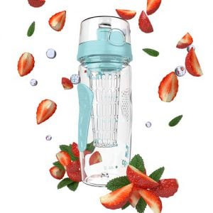 A fruit-infuser water bottle by Bevgo, surrounded by strawberries. Image linked to Amazon.