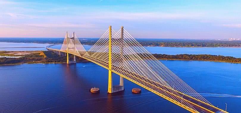 The Dames Point Suspension Bridge in Jacksonville, FL.