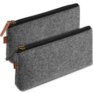 Two grey pencil pouches by ProCase. Image linked to its Amazon page.