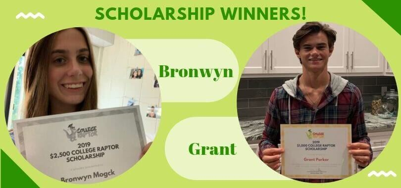 Scholarship winners Bronwyn and Grant holding up their certificates.