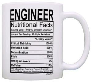 "White mug with Engineer ""nutritional facts"" label by This Wear. Click to visit its Amazon page."