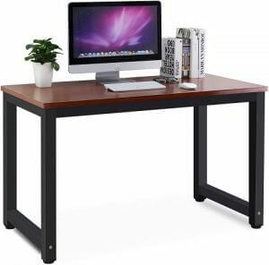 Computer desk with thick metal legs by Tribesigns. Click to visit its Amazon page.