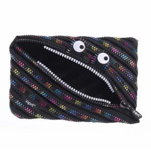 A black zipper pencil case with monster eyes by ZIPIT. Image linked to its Amazon page.