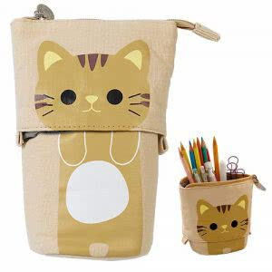 Brown kitten print standing pencil pouch by iSuberb. Image linked to its Amazon page.