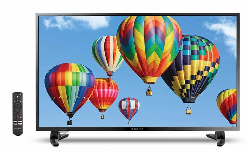 Insignia HD Smart TV and remote. Click to visit its Amazon page.