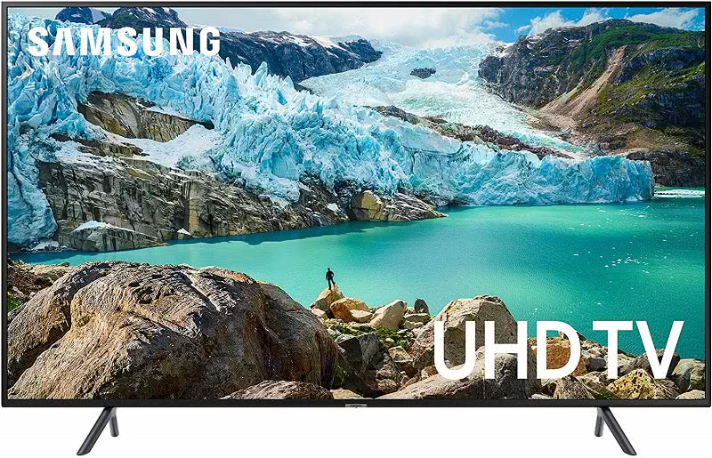 Samsung 4K TV displaying glacier scene. Click to visit its Amazon page.