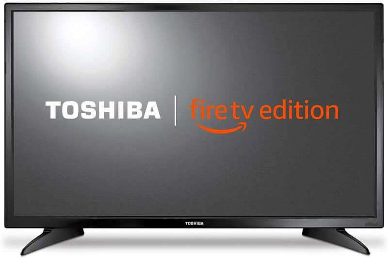 Toshiba Fire TV displaying logos. Click to visit its Amazon page.