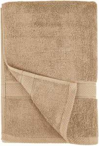 A folded beige bath towel by Pinzon. Click to visit its Amazon page.