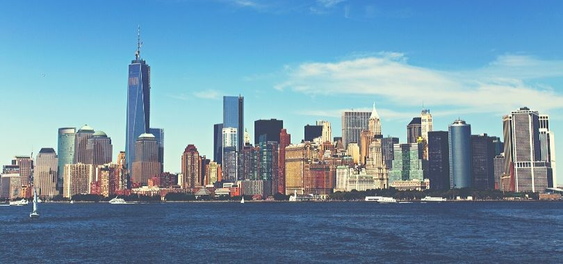 A New York City skyline from the water