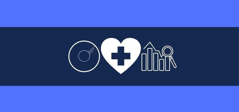 Three icons indicating different careers on a two-toned blue background. One icon is a CD, another is a heart with a cross, and the third is a magnifying glass over a bar chart.