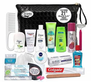 Convenience Kits travel kit with shampoo, soap, creams, and other gear. Click to visit its Amazon page.