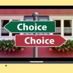"Laptop icon with two arrow signs, each saying ""Choice."""