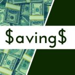 "A background of $100 bills with text ""Savings."""