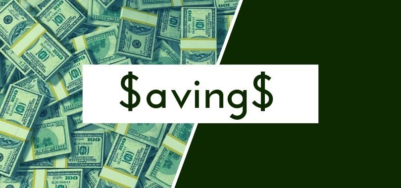 """A background of $100 bills with text """"Savings."""""""
