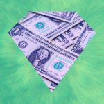 A stack of $1 bills in the shape of a diamond on a green background.