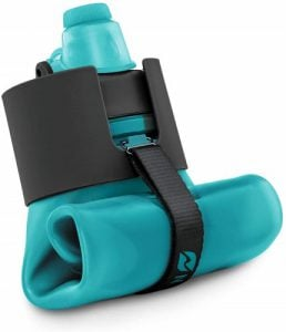 Blue Nomander collapsible water bottle rolled up. Click to visit its Amazon page.