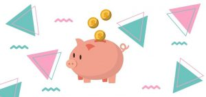 Piggy bank icon with coins and colorful designs.