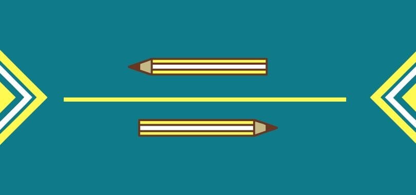 Two pencil icons with decorative arrows on either side.