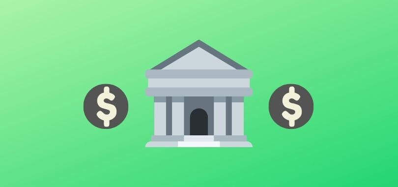 A bank and dollar icons on a green background.