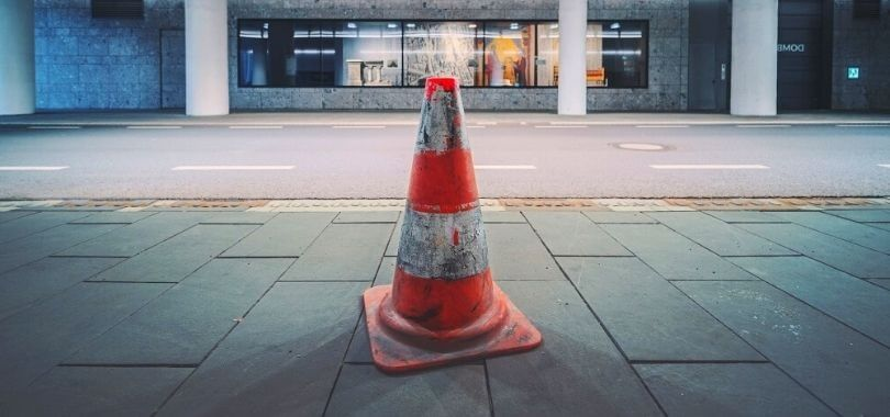 Safety cone on college campus.