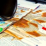 Coffee spilled on college application.