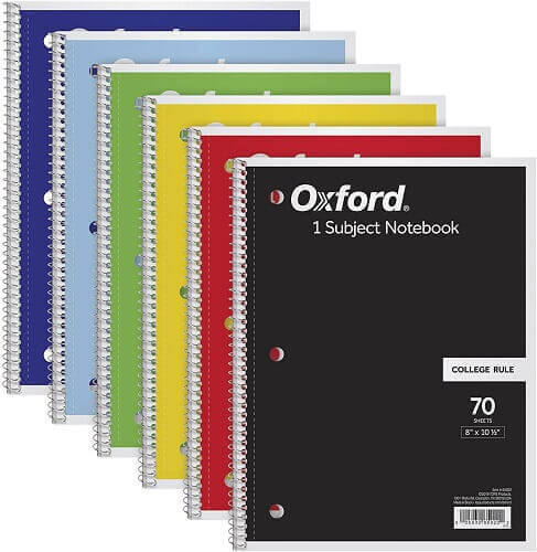 Oxford subject notebooks. Clicking will lead to its Amazon page.