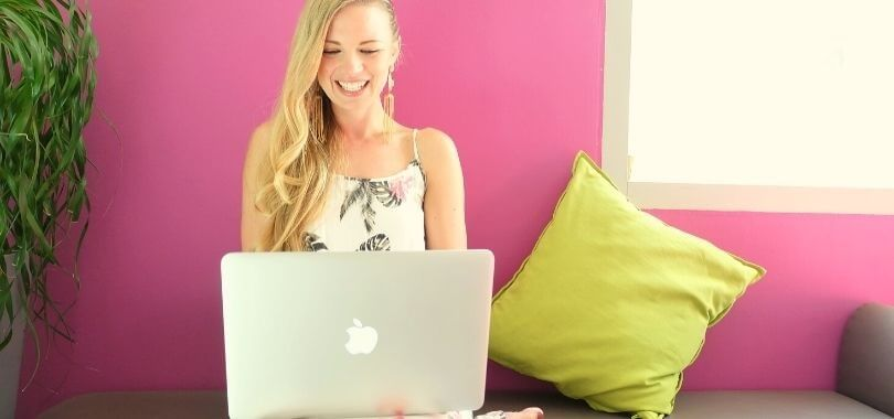 Student on laptop applying for scholarships
